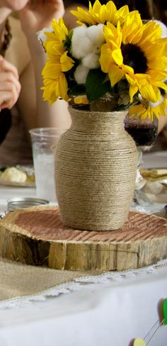 Twine wrapped burlap vases. Can be made to order in various shapes and sizes. Message me with your order!    Tall Vases $10 Short Vases $5