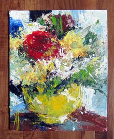 Flowers Still Life Original Contemporary Palette Knife Acrylic Painting 8x10 inches Canvas Board by Anne Thouthip Free Shipping USA by AnneThouthipFineArt on Etsy