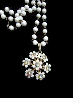 Vintage Milk Glass Rhinestone Pendant Necklace by IchLiebeVintage, $19.20