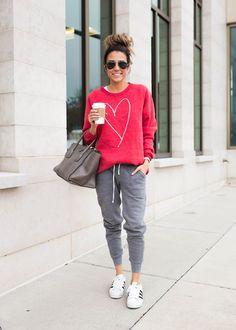 Red sweatshirt & Grey joggers