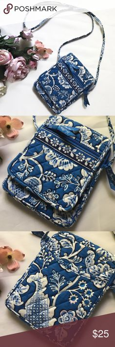 "Vera Bradley Crossbody Purse in Blue Lagoon Here's a fun and versatile crossbody purse in Vera's retired Blue Lagoon pattern. It measures 6.5"" x 8"" and is 1"" wide. Handle drop is approx. 26"". It has lots of great storage features including a clear pocket for your ID (behind the front flap), two outside pockets, and 4 inside pockets. Double closures outside including a zipper and Velcro tab. EUC. Vera Bradley Bags Crossbody Bags"