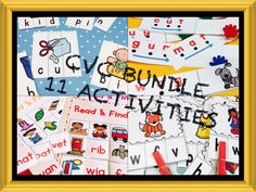 Phonics Centers, Practice, Worksheets and Literacy Stations Activities for CVC short vowel practice. Perfect for Kindergarten and First Grade! Many are self-checking!