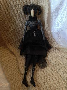 Купить Кукла Тильда - черный, серый, блестящий, ключ, кукла ручной работы, кукла в подарок