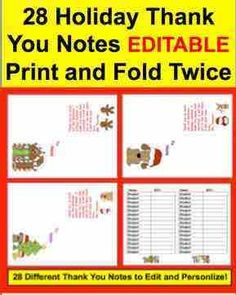 28 Editable Thank You Notes... Holiday and Christmas. Use Year after Year!