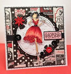 Handmade card by Little Megs Cards using Stamping Bella Uptown Girl stamp