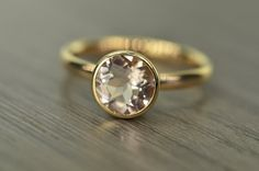 Blaze Solitaire morganite 2ct Engagement Ring solid by EdwardOwl