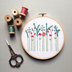 Reserved for Vicki - Modern Embroidery Aqua and Coral Floral Hoop Art - Hand Embroidered, Wildflowers, Needlework, Baby Shower Gift Embroidery Designs, Wooden Embroidery Hoops, Hand Embroidery Stitches, Modern Embroidery, Diy Embroidery, Cross Stitch Embroidery, Machine Embroidery, Hand Stitching, Diy Broderie