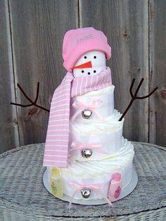 Cute winter diaper cake!