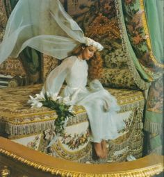 Jerry Hall at Versailles by Norman Parkinson, Vogue UK September 1975