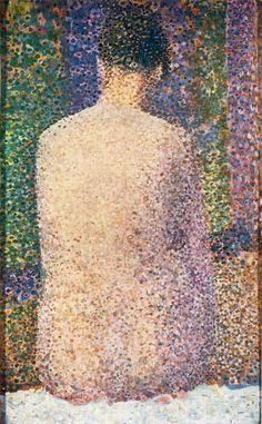 Georges Seurat, Model van achteren gezien, 1886, olieverf op paneel, 24.,5 x 15.5 cm, Musée d'Orsay, Parijs