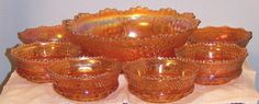 7-pc Northwood Grape and Cable Marigold Carnival Glass Berry Set offered by Ruby Lane shop Cousins Antiques