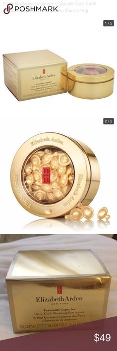 "NEW Elizabeth Arden Ceramide Capsules Eye Serum NEW IN BOX Elizabeth Arden Ceramide Capsules Daily Youth Restoring Eye Serum - 60 Capsules Total/10.5 ml. ""Pure, potent, intensive single dose capsules fortify skin in the eye area to help fight fine lines and crow's feet, giving eyes a lifted, smoother, brighter look. Helps strengthen skin's resistance against the appearance of fine lines and crow's feet. Visibly lifts and contours the look of sagging skin in the eye area. Supports natural…"