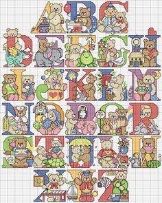 alfabeto maiuscolo punto croce con orsetti carini