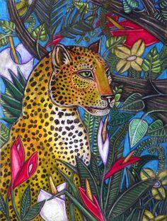 Jangala Leopard Big Cat Jungle Art by Lynnette Shelley
