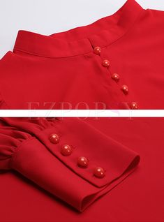 Shop Standing Collar Lantern Sleeve Single-breasted Blouse at EZPOPSY. Neck Designs For Suits, Sleeves Designs For Dresses, Dress Neck Designs, Sleeve Designs, Blouse Designs, Collar Kurti Design, Kurta Neck Design, Simple Kurta Designs, Kurta Designs Women