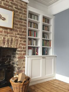 Traditional style bookcase with base cabinet. Supplied by DIY Alcove Cabinets, fitted and painted by the customer Victorian House Interiors, Victorian Living Room, Cottage Living Rooms, New Living Room, Cottage Lounge, Cottage Kitchens, Grey Kitchens, Modern Kitchens, Alcove Cabinets