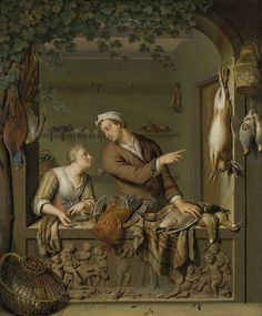Willem van Mieris | The Poultry Seller, Willem van Mieris, 1733 | De poelier. Stenen venster waarin een poelier wijst naar een dode haas. Links een jonge vrouw die geldstukken neertelt. Op de vensterbank, tegen de zijkanten en op de achtergrond ligt wild en gevogelte uitgestald. Onderaan een bas-reliëf met  een bacchanaal van putti.