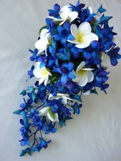 Waterfall Bride - blue cascade of brilliant blue orchids with a sprinkle of frangipangi