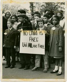 Children join demonstration at an unidentified U.S. location for civil rights for all Americans, ca. 1960.