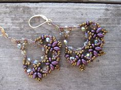 Hand Beaded Earrings of Crystals SuperDuos by SleepingCatDesigns