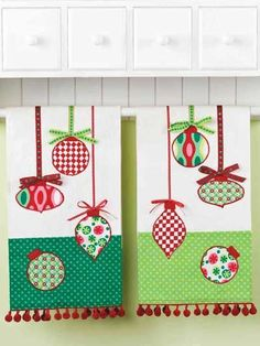 """Dressed up with ribbon and ball fringe, these appliqued towels are perfect for adding a colorful accent to your kitchen or for giving as gifts. This e-pattern was originally published in Sewing Season's Greetings. Size: 16"""" x 16"""". Skill Level: Intermediate"""