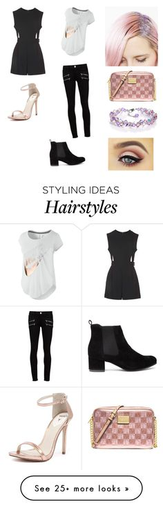 """""""How to style: glitter roots hair"""" by lovelyyouandme on Polyvore featuring MICHAEL Michael Kors, Topshop, Paige Denim, NIKE and Windsor Smith"""