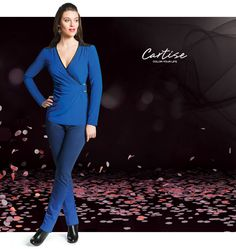 Ombre Jeans and wrap top with faux leather trim. #fallfashion #musthave #Cartise #women #apparel #coloryourlife www.cartise.ca