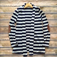 Black white striped cardigan-3- Elbow patch attached. Super chic Other