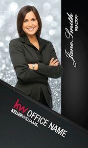 Vertical Diamonds Keller WIlliams Business Card Design.