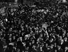 November 11 1918 Crowd Cheering on Armistice Day in the US