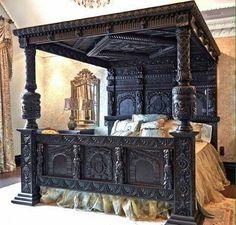 00 Castle Victorian Bed Design Ideas For Gothic Room Castle Victorian Bed Design Ideas For Gothic Room Gothic Bed, Gothic Room, Victorian Bed, Gothic Home Decor, Retro Home Decor, Bedroom Furniture Uk, Victorian Furniture, Furniture Plans, Furniture Dolly