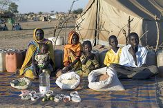 What the world eats - Chad: The Aboubakar family of Breidjing Camp. Favorite food: soup with fresh sheep meat
