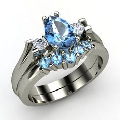 Alyssa ring in Blue Topaz with Matching Band