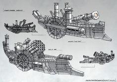 Steam Warships 2 by ortsmor on DeviantArt ★ Fantasy Landscape, Fantasy Art, Steampunk Ship, Character Design Cartoon, Warhammer Fantasy, Ship Art, Dieselpunk, Game Design, Dungeons And Dragons