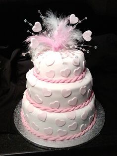 my first attempt at a wedding cake and she loved it :)   repin it