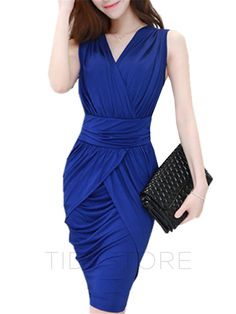 tidestore - tidestore Sexy Pure Color Sleeveless Slim Bodycon Dress - AdoreWe.com