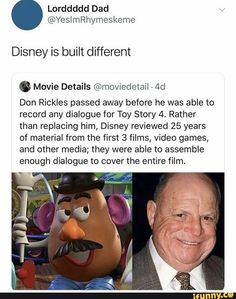 Because Don Rickles is one of the non-negotiables in this world! Disney And Dreamworks, Disney Pixar, Walt Disney, Funny Memes, Hilarious, Jokes, Dc Movies, Pixar Movies, Haha