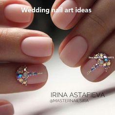 35 Simple Ideas for Wedding Nails Design - Nail Art Swarovski Nails, Crystal Nails, Rhinestone Nails, Simple Wedding Nails, Wedding Nails Design, Nail Wedding, Wedding Manicure, Bling Wedding, Cute Nails