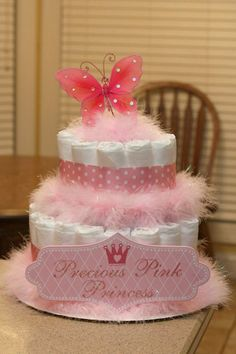 Precious Baby Girl Diaper Cake - butterfly theme'd baby shower. Put pink and white shoes on top and tiara around middle tier...mine had 3 tiers