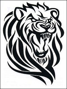 "Tribal Lion Temporaray Tattoo by Tattoo Fun. $3.95. This is a Temporary tattoo of a black and white lion roaring. It measures approx 3"" long x 2 1/4"" wide."