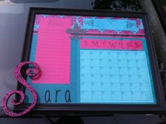 PAint swatches and an area for notes for valentine gift -Krystal     DIY Dry Erase Calendar