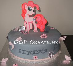 My little Pony, Pinkie theme cake, carrot cake with cream cheese, the little Pony topper is hand drawn and painted. www.facebook.com/dgfcreations