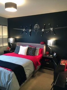 46 Easy and Awesome Wall Light Ideas for Teens GODIYGO COM is part of Airplane bedroom When talking about suitable lighting for your bedroom, a nice lighting is the one that can create an overall - Boys Bedroom Decor, Airplane Bedroom, Room Design, Bedroom Decor, Awesome Bedrooms, Bedroom Design, Boys Room Decor, Boys Bedrooms, Bedroom Wall