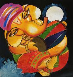 Ganesh Hindu Painting Handmade Ganesha Indian Canvas Oil Ganpati Wall Decor Art