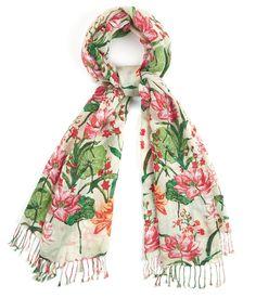 Leaf Print Silk Pash