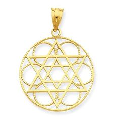 Versil 14k Star of David Circle Pendant