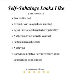 Stop 🛑 the Self sabotage Note To Self, Self Love, Mental And Emotional Health, Emotional Healing, This Is Your Life, Self Care Activities, Self Development, Self Improvement, Self Help