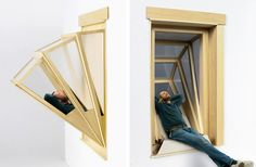 """Innovative """"More Sky"""" Windows Transform into Outdoor Seating for Small Apartments - My Modern Met Sky E, Interior Architecture, Interior Design, Window Frames, Deco Design, Window Design, Outdoor Seating, Small Apartments, Furniture Design"""