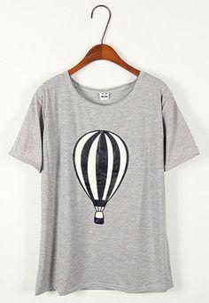 Short Sleeve Hydrogen Balloon Graphic T Shirt
