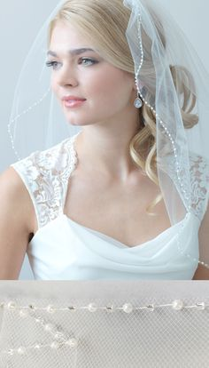 1 layer, Simple Pearl Edge Wedding Veil is so delicate and simple. This bridal veil features a thin edge of alternating pearls and tiny silver accented beads. Perfect for the bride that wants a simple beaded veil. Wedding Hair And Makeup, Bridal Hair, Bridal Gowns, Pearl Bridal, Wedding Veils, Wedding Dresses, Simple Wedding Hairstyles, Traditional Wedding, Wedding Photography
